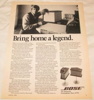 vintage bose 901 stereo speakers print ad from 1976 time