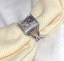Antique Very Unusual 33rd Degree Masonic Ring Size 9.5 Silver, Gold