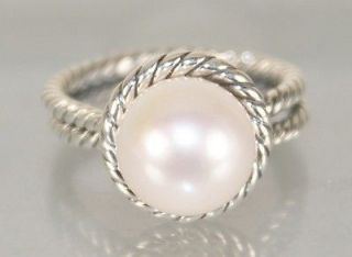David Yurman 925 Sterling Silver Pearl Cable Wrap Ring, Size 7