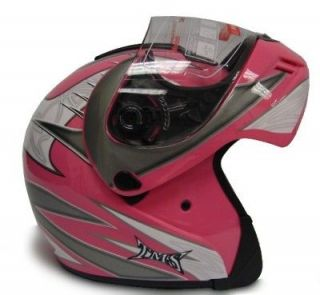 pink modular flip up full face motorcycle helmet dot m