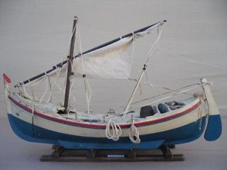 vintage 18 wooden model fishing boat on stand time left
