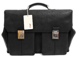 New BRIONI Italy Black Elephant Leather Briefcase Travel Duffle Bag
