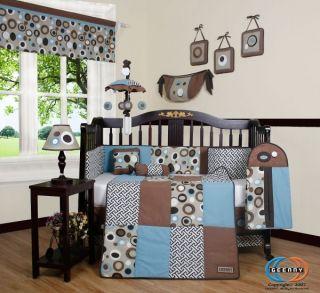 boutique blue brown scribble 13pcs crib bedding set time left