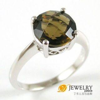3ct Genuine Smoky Quartz Ring 925 Sterling Silver Size 6 Round