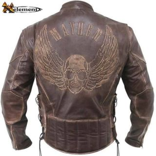 Xelement Mens Flying Skull Racer Jacket Biker Jacket by Xelement
