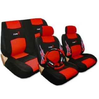 RED & BLACK Low Back Synthetic Leather Seat Covers W Embroidery FLAME