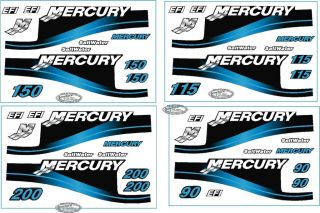 Mercury Outboard 200HP (90, 115 and 150)Decal Kit, Blue Saltwater