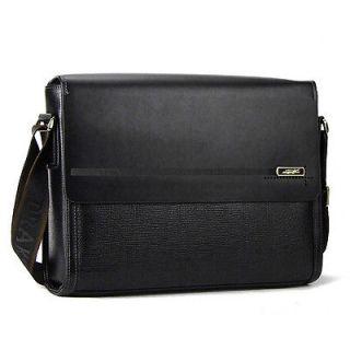Men black classical genuine leather shoulder messenger bag vintage