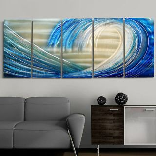 Modern Abstract Hand Painted Blue/Silver Metal Wall Art Decor By Jon