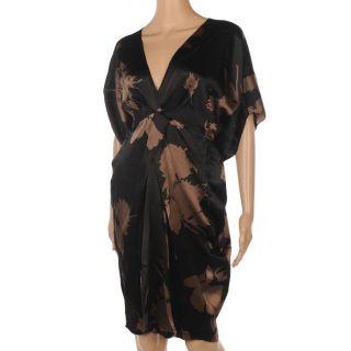 JF 211 NANCY MAC Tallulah Black & Brown Silk Dress Size 5 / UK 18 RRP