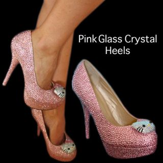 HELLO KITTY PINK GLASS CRYSTAL HIGH HEEL BRIDAL PLATFORM DRESS SHOES
