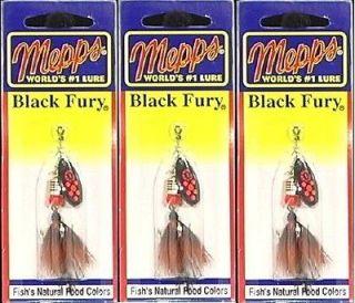 Newly listed Three Mepps Black Fury 1/8 OZ Reddot BF1T FL Size 1 Lures