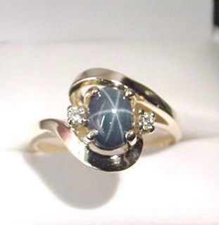 genuine blue star sapphire diamonds 14k gold ring time left