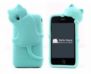 Cute Lovely Kiki Cat Silicone Case Cover For i Phone 3G 3GS blue
