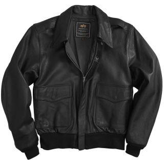 Alpha Industries A 2 Goatskin Leather Flight Jacket   Black, Brown