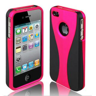 Black Pink 3 Piece Hard Snap On Case Cover For Apple iPhone 4S 4G 4 AT