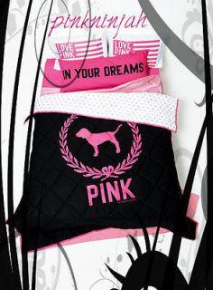 NIP Victoria Secret Pink Reversible Comforter Full Queen Black Crest