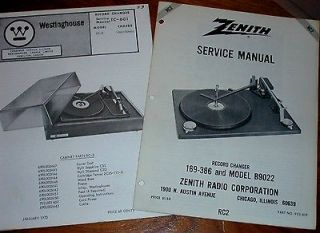 MANUALS Turntables # RC2 Westinghouse #TC 601 Zenith #169 386 B902