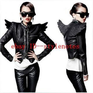 Punk Womens 3D Back Angel Wings Front Zips Faux Leather Close fitting