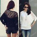 Black womens Loose Batwing Top Dolman Long Sleeve Lace T Shirt Blouse