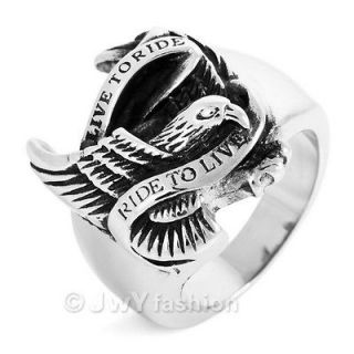 Newly listed Size 12 Silver Eagle Stainless Steel Men Ring LP11 402