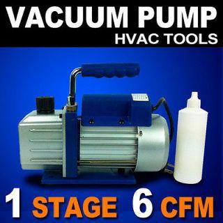 New 1 Stage 1/3HP Vacuum Pump 6CFM Rotary Vane Deep HVAC Tool AC R410a