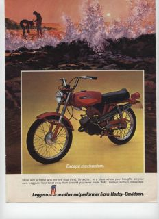 1972 AMF Harley Davidson Leggero Motorcycle Escape Mechanism Ad