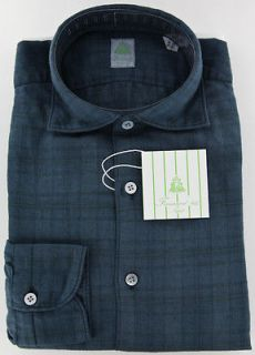 New $375 Finamore Napoli Navy Blue Shirt 15.75/40