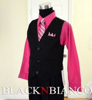 Boys Formal Outfit Pinstripes Black Vest Suit Fuchsia Pink Shirt Size