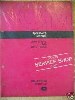 john deere 440 offset disk harrow operator manual one day