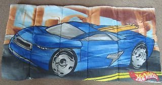 2001 VTG BOYS HOT WHEELS RACE CAR SLEEPING BAG BLUE YELLOW 28X55