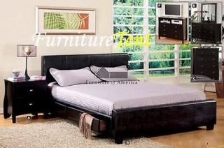 Urban Feel Espresso Leather Full, Queen, King, Platform Bed with 6