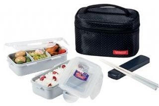 BLACK NEW Bento Lunch Box Set w/2 containers + Chopstics + Insulated