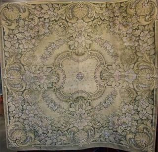 Antique Floral and Leaf Tapestry Wall Hanging 56x56 Olive Taupe