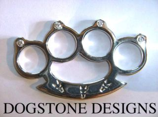 diamond 925 silver knuckle duster pendant brass knuckle time left
