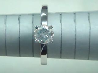 01 CT ROUND CUT DIAMOND SOLITAIRE ENGAGEMENT RING 14K WHITE GOLD
