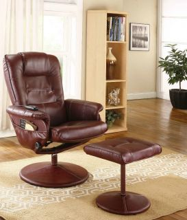 Burgundy Leather Massage Recliner Swivel Chair Ottoman with Heat New