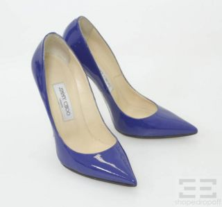 Jimmy Choo Cobalt Blue Patent Leather Pointed Toe Pumps Size 38