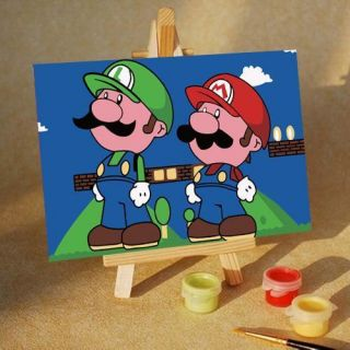 Magic DIY Paint by Number 6 4 Kit Lovely Super Mario Good Gift for