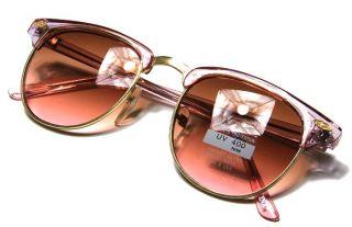 Clubmaster Transparent Pink Gold Frame BrownTo Pink Lens Sunglasses