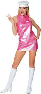 60s Retro Pink Go Go Girl Adult Costume Large 10 14