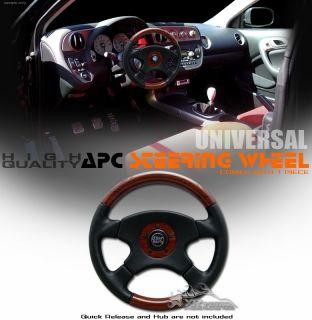 14APC Leather Burl Wood Steering Wheel Universal Grant
