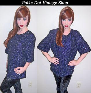 Womens Vintage 80s Heavily Beaded Art Deco Sequin Trophy Dress Blouse