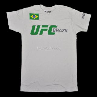 New Mens UFC T Shirt MMA Vale Todo Grey Green Brazil Flag Worldview