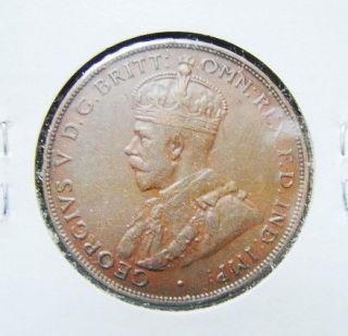 Australia 1928 One Penny Bronze Coin King Georgivs V