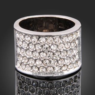 18K White Gold GP Clear Swarovski Crystals Wedding Ring R48