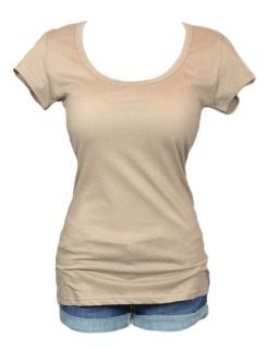 Womens Ladies Girls Round Neck T Shirt Basic Cut Fit Tee Soft Cool