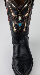 VINTAGE ACME LEATHER COWBOY / GIRL BOOTS CUTOUT INLAY PEE WEE SHORTY