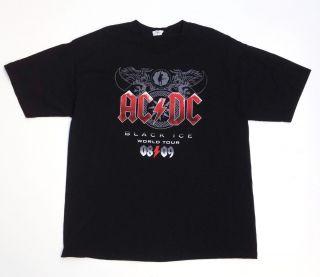 ACDC Black Ice 2009 Concert Tour T shirt Size X Large Classic Rock AC