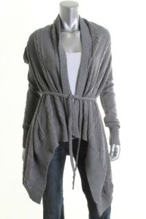 Autumn Cashmere New Gray Cable Knit Draped Braided Belt Cardigan